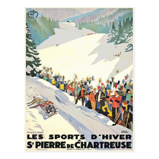 Vintage Ski Resort Postcard from Switzerland