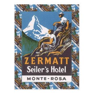 Vintage ski, Seiler's Hotel, Zermatt Postcard
