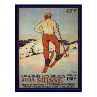 Vintage Ski, St Croix les rasses, Jura Suisse Post Card