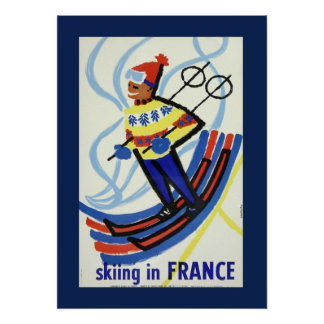 Vintage Skiing in France Travel Poster