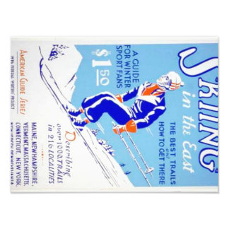Vintage Skiing in the East WPA Poster Photo
