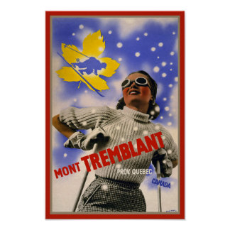 Vintage Skiing Mont Tremblant Travel Poster