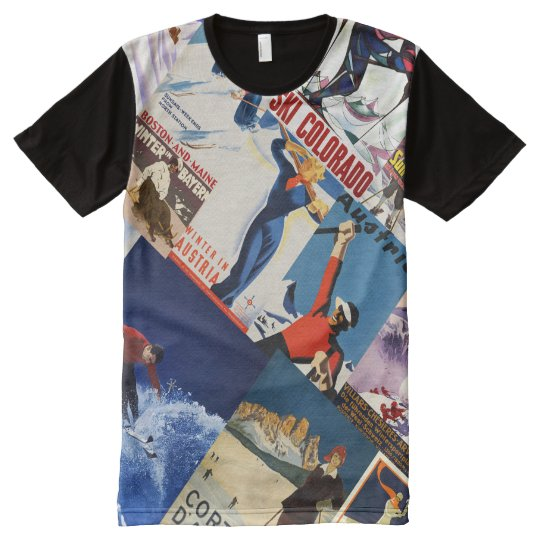 Vintage Skiing Travel poster collage t-shirt