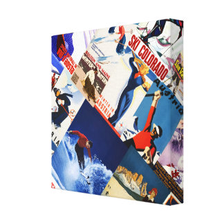Vintage Skiing Travel posters collage Canvas Canvas Print