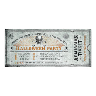 Vintage Skull and Bones Halloween Party Ticket Card