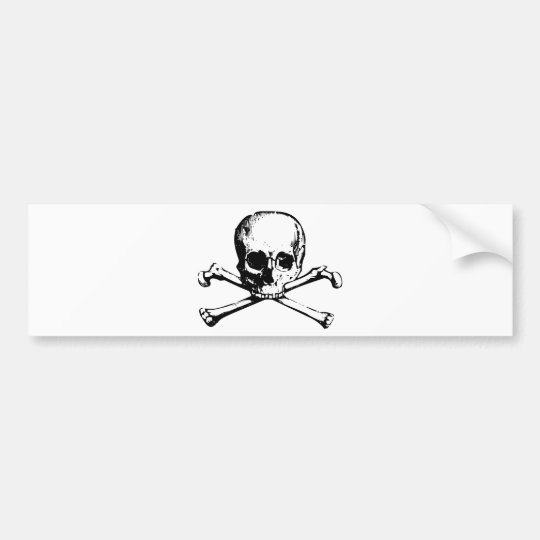 Vintage Skull and Crossbones Bumper Sticker