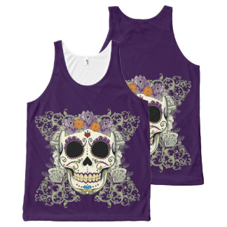 Vintage Skull and Flowers Large Print Tank