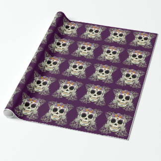 Vintage Skull and Flowers Wrapping Paper