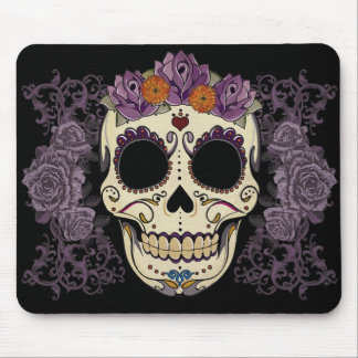 Vintage Skull and Roses Mouse Pad