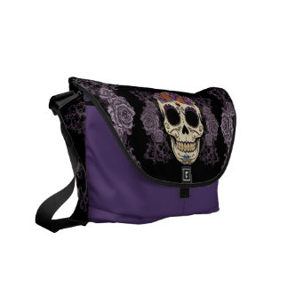 Vintage Skull and Roses Rickshaw Messenger Bag