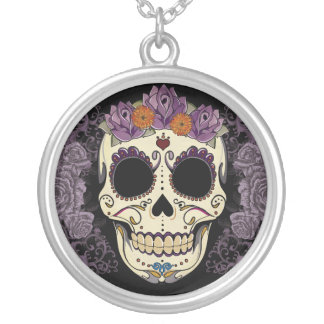 Vintage Skull and Roses Round Pendant Necklace