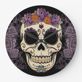 Vintage Skull and Roses Wall Clock