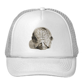 Vintage Skull Brain Medical Illustration Brains Trucker Hat
