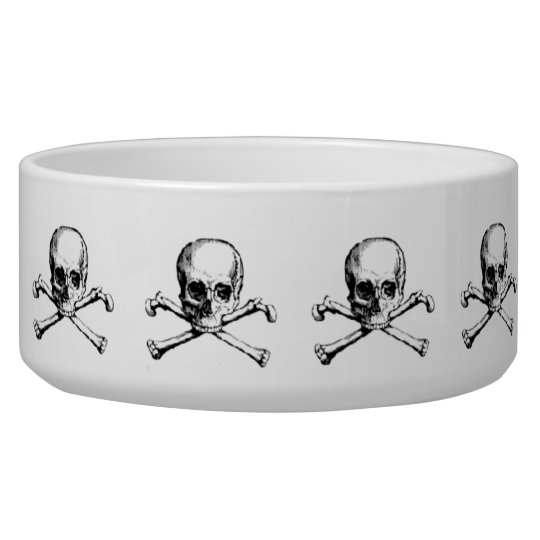 Vintage Skull & Crossbones Dog Food Bowl