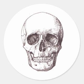 Vintage Skull Illustration Custom Background Round Sticker