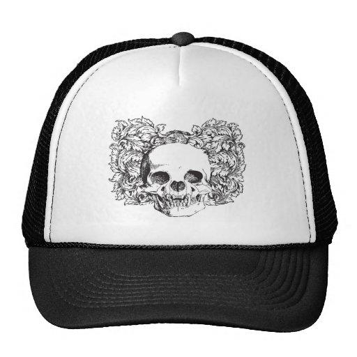 Vintage skull on floral background symbol of death hat
