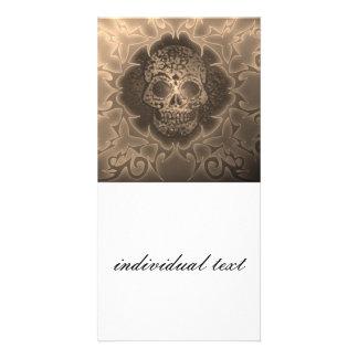 vintage skull photo card