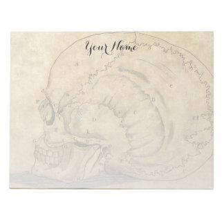 Vintage Skull Profile Engraving Lettered Notepad