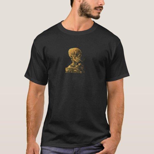 Vintage Skull Smoking Cigarette Van Gogh T-Shirt
