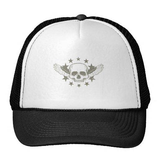 Vintage Skull Wings Stars Hat