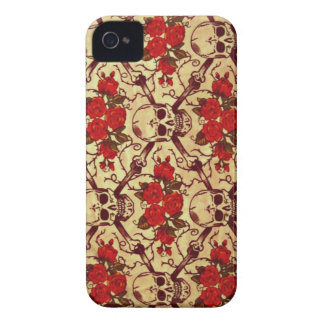 Vintage Skulls and Roses iPhone 4 Case