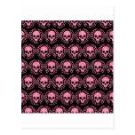 Vintage Skulls Pink and Black Postcard