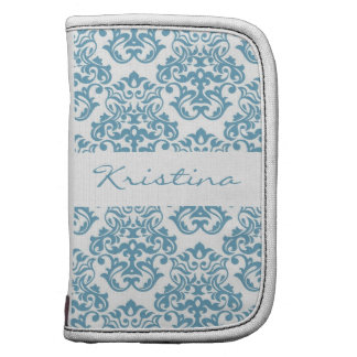 Vintage Sky Blue Damask Personalized Day Planner