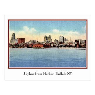 Vintage Skyline From Harbor, Buffalo NY Post Card