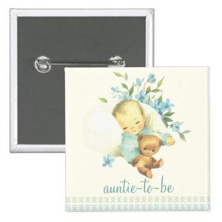 Vintage Sleeping Baby Shower Auntie to Be Custom 15 Cm Square Badge