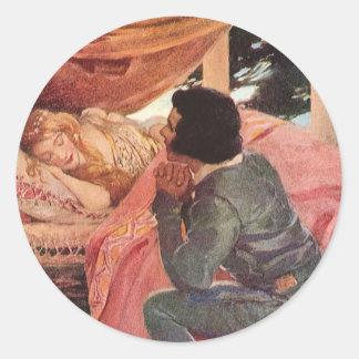Vintage Sleeping Beauty by Jessie Willcox Smith Round Sticker