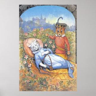 Vintage Sleeping Beauty Cat Poster Print