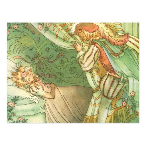 Vintage Sleeping Beauty Princess, Prince Charming Post Cards