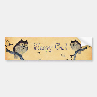 Vintage Sleepy Owl Bumper Sticker