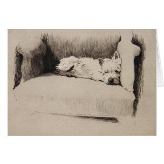 Vintage - Sleepy Westie, Card