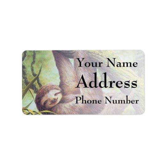 Vintage Sloth Illustration Address Label