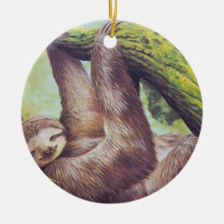 Vintage Sloth Illustration Christmas Ornament
