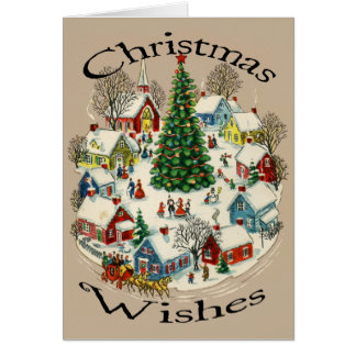 Vintage Small Town Christmas card