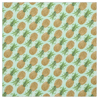 Vintage Small Tropical Hawaiian Pineapple Mint Fabric