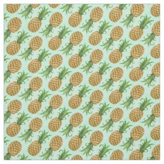 Vintage Small Tropical Hawaiian Pineapple Mint Fabric