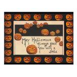 Vintage Smiling Halloween Jack o'Lanterns Post Cards
