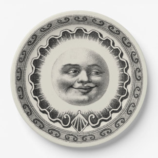 Vintage Smiling Man In The Moon Beige 9 Inch Paper Plate