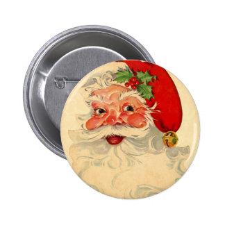 Vintage Smiling Santa Christmas Holiday Gift Item 6 Cm Round Badge