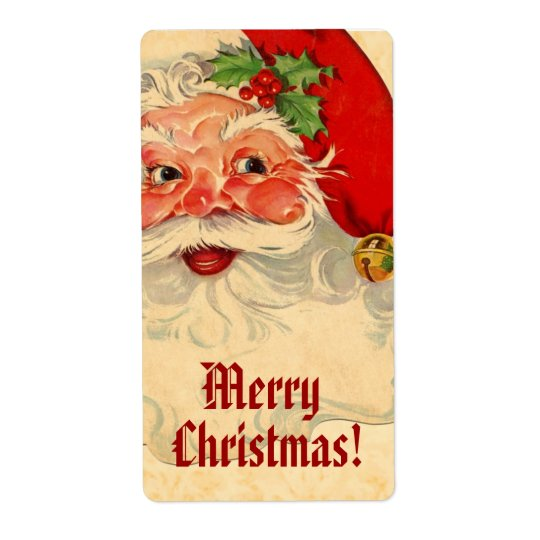 Vintage Smiling Santa Merry Christmas V01 Shipping Label
