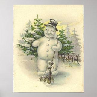 Vintage Smiling Snowman Card Print