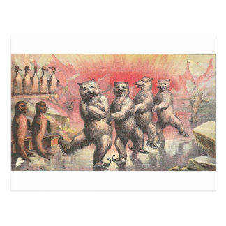Vintage Smoking and Dancing Animals Postcard