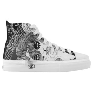 Vintage smoking woman lace tennis shoes printed shoes
