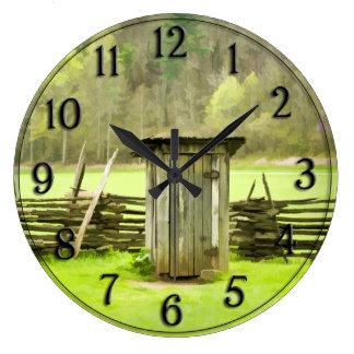 Vintage Smoky Mountains Outhouse Travel Photo Clock