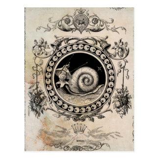 Vintage Snail Fairy Collage Art Postcard