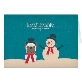 Vintage SNORT Pug Christmas Card