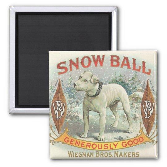 Vintage Snow Ball Dog Square Magnet
